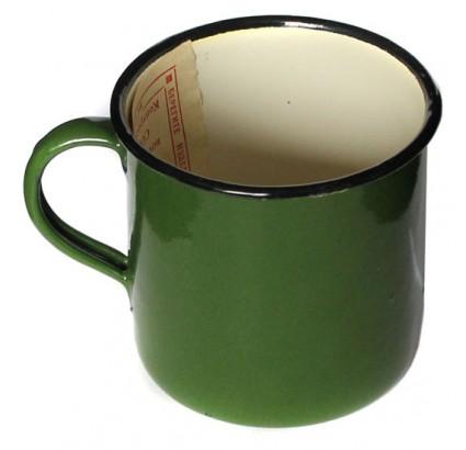 Vintage Russian green metal cup enamel mug