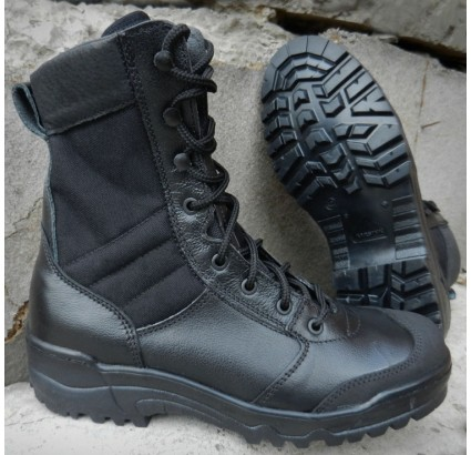 Tactical Russian boots G.R.O.M. black leather