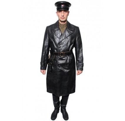 USSR black NKVD officer Leather Overcoat