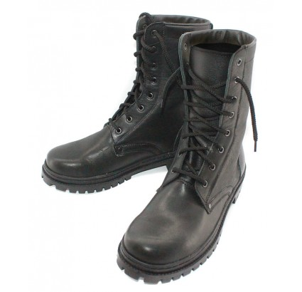 Black leather Russian Officer high boots