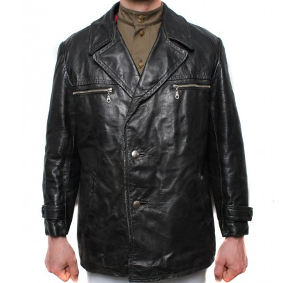 Old military leather Tankman black jacket US 42