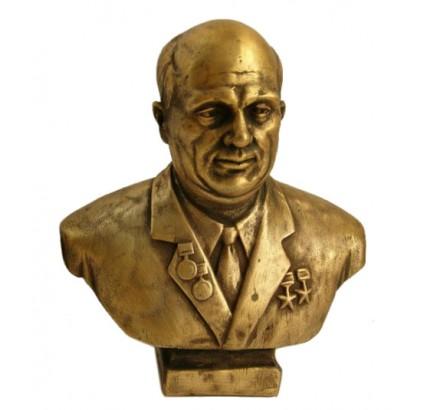 Bronze Soviet bust of Nikita Khrushchev