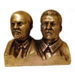 Busto sovietico in bronzo russo di Lenin e Stalin
