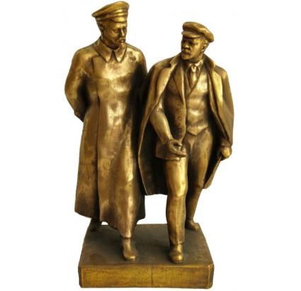 Busto sovietico in bronzo russo di Dzerzhinsky e Lenin