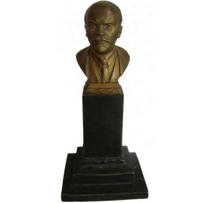 Bronze Lenin Russian bust on metal stand