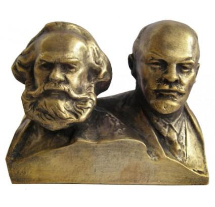 Buste soviétique en bronze russe MARX & LENIN