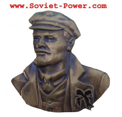 Soviet BADGE with LENIN Revolution USSR brass bust CCCP