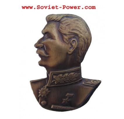 Soviet BADGE with STALIN Revolution USSR brass bust