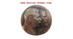 Soviet BADGE with LENIN & STALIN Revolution USSR brass