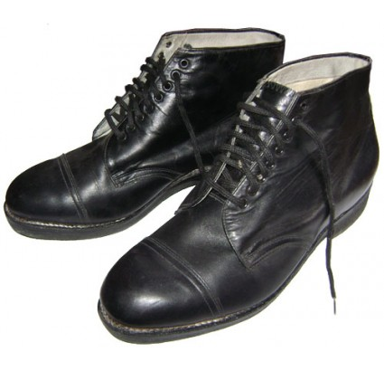 Old leather boots made by Severohod factory