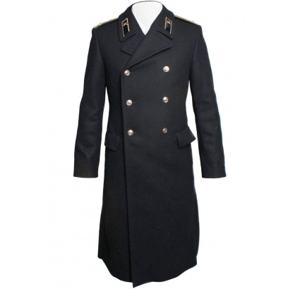 Russian Navy Fleet woolen long black Overcoat