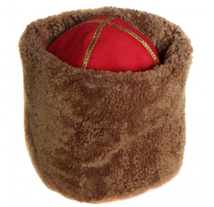 Russian winter Papaha brown fur hat with red top