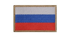 Russian Federation Russia Embroidered Patch Flag Tricolor Beige