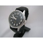 Molniya PILOT vintage black wristwatch with transparent back