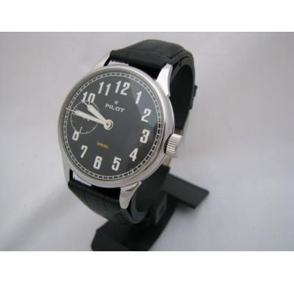 Molniya PILOT vintage black wristwatch with transparent back