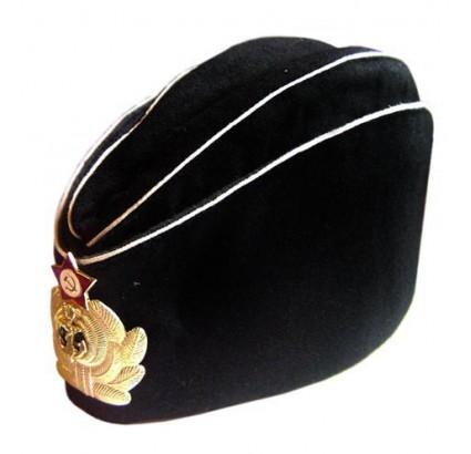 ソビエトロシア海軍将校の黒い夏の帽子飼料キャップ