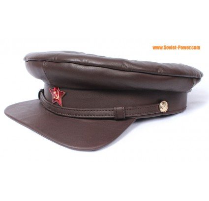 Soviet Officers brown Russian leather hat
