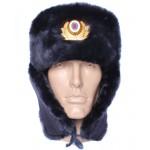 Russian Police Officers sheep fur USHANKA winter hat