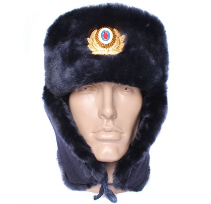Russian Police Officers sheep fur USHANKA winter hat