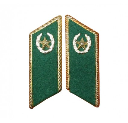 Russian / Soviet army border guards green metal collar tabs