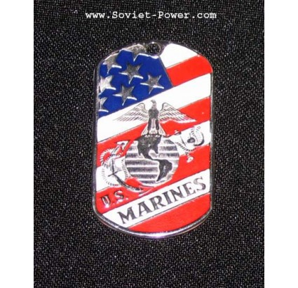 "US dog tag métallique militaire ""MARINES americaines"""