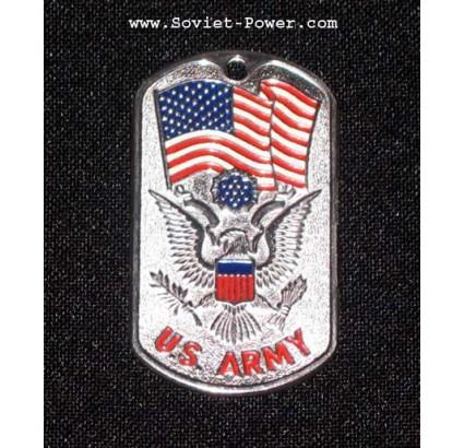 Dog tag US Métal Militaire Soldat US ARMEE (Argent)