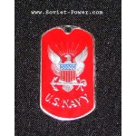 USA Soldier Military Metal Name Tag U.S. NAVY (Red)