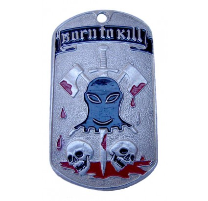 "Military metal dog tag ""BORN TO KILL"""