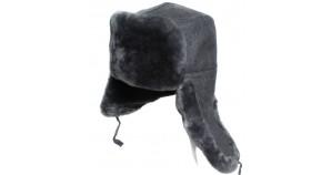 Gray fur hat Russian Officers modern ushanka winter earflaps