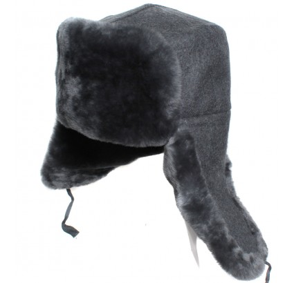 Gray fur hat Russian Officers modern ushanka winter earflaps