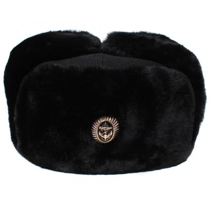 Russian marines black warm Ushanka winter fur hat
