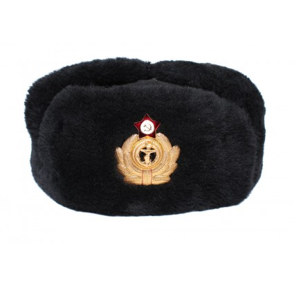 Soviet warm BLACK USHANKA Russian Navy winter hat