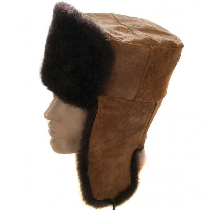Russian dark brown fur ushanka winter hat with suede leather