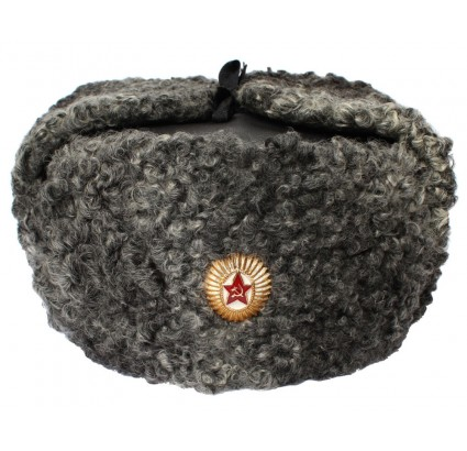 Russian Army Generals Astrakhan fur ushanka Leather hat