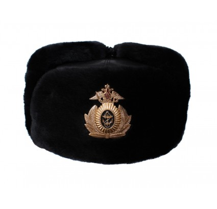 Leather Ushanka winter hat from Russian Navy Fleet
