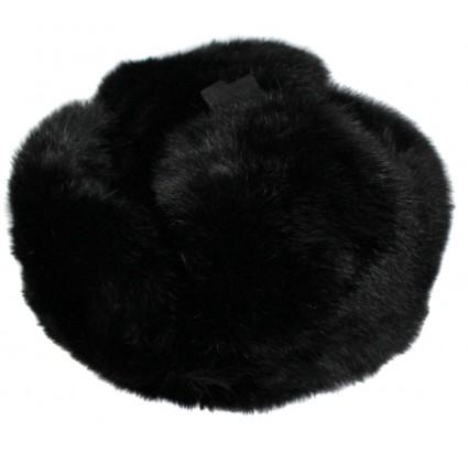 Ushankaロシアスタイルの黒い毛皮の冬の帽子と耳のフラップウサギ