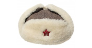 Woolen ushanka military Russian winter hat with white fur