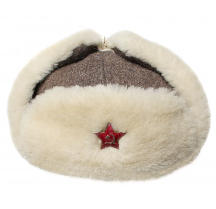 Wool ushanka military Russian winter hat with white fur paraorecchie
