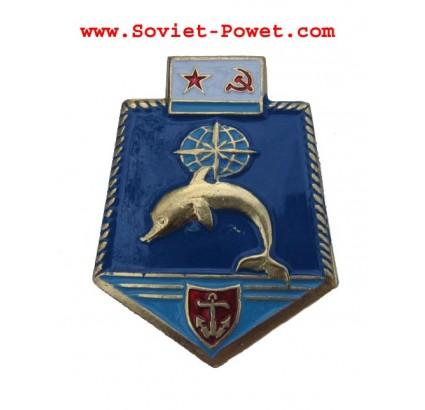 Soviet Metal UNDERWATER FLEET EMBLEM BADGE with DOLPHIN