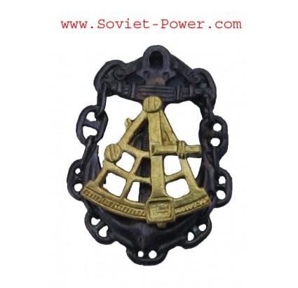 "Soviet Navy badge "" SEA CAPTAIN "" Naval Fleet with SEXTANT"