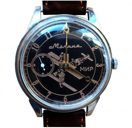 """Montre-bracelet russe """"Molnija"""" - Station spatiale soviétique MIR"""