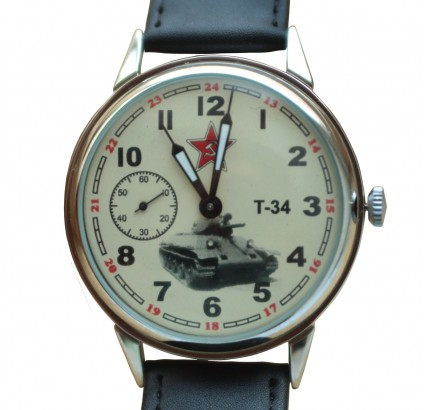 Soviet vintage military mechanical wristwatch Russian TANK T-34