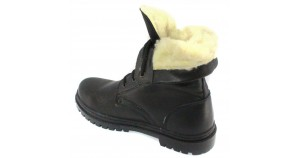 Russian military winter black leather boots with fur