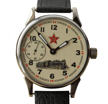 Russian mechanical wristwatch MOLNIJA railroad clock