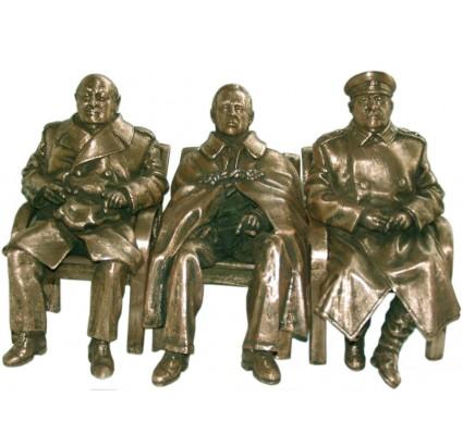 """""""ビッグスリー""""スターリン、ルーズベルト&チャーチルの会議ブロンズ"""
