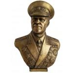Grande busto sovietico in bronzo del maresciallo Zhukov