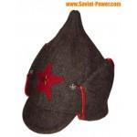 Sombrero de lana del Ejército Rojo con orejas largas BUDENOVKA marrón