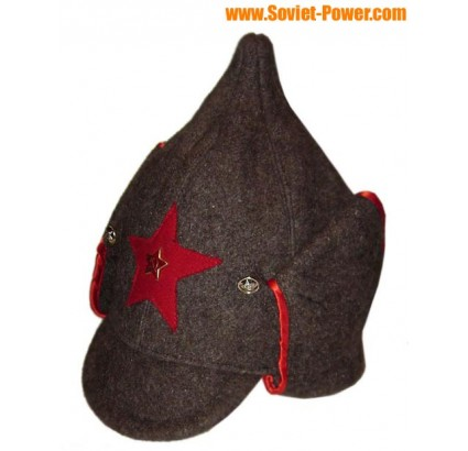 Red Army woolen hat with long ears BUDENOVKA brown