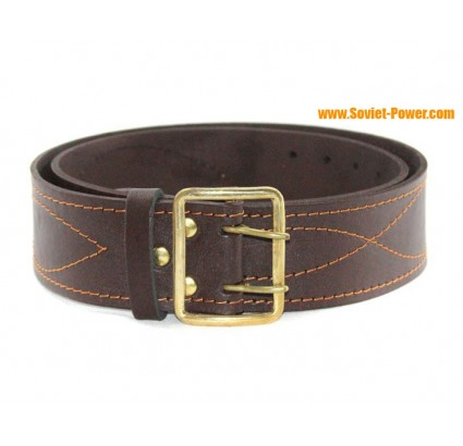 Brown Russian Officer wide leather belt