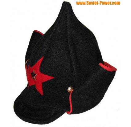 Russian RKKA Red Army black hat BUDENOVKA long ears